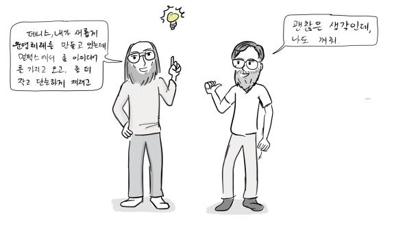톰켄슨: 데니스, 내가 새롭게 운영체제를 만들고 있는데, 멀틱스에 좀 아이디어를 가져오고 좀 더 단순하게 만들어 보려고. 데니스: 좋은 생각인데, 나도 관심있어.