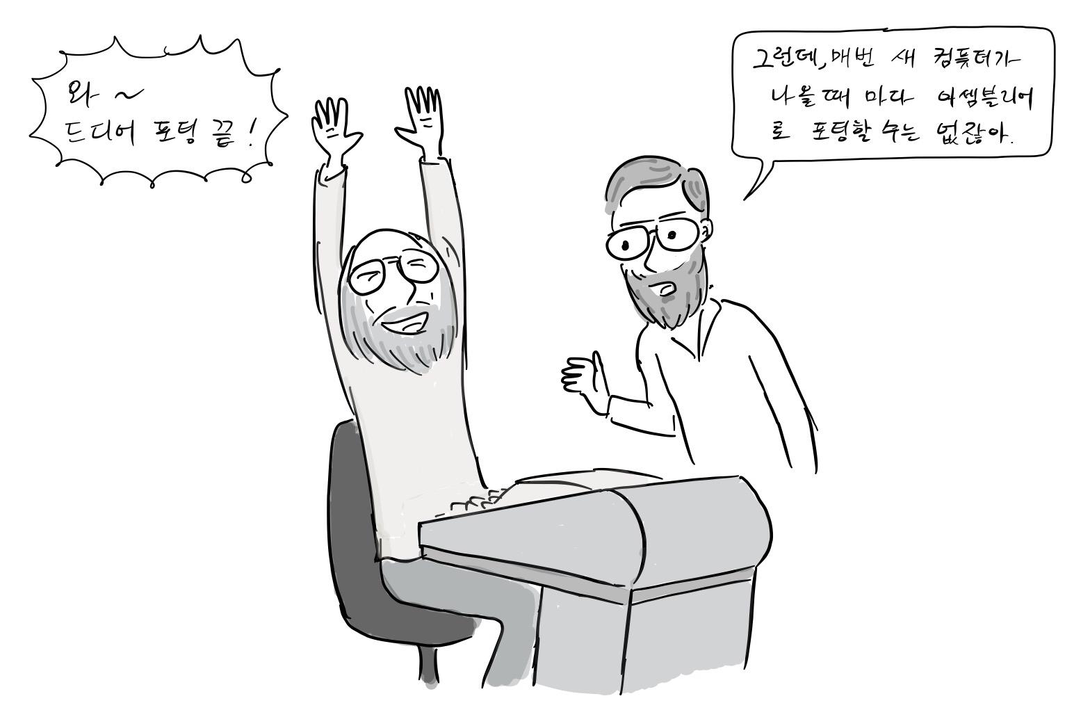 켄톰슨: 드디어 포팅 끝~~~ 데니스: 이봐, 톰 매번 새 컴퓨터가 나올 때 마다, 매번 코드를 다시 짤 수는 없잖아